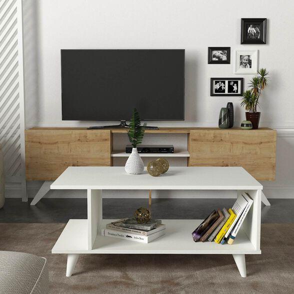סט שולחן + מזנון טלוויזיה 1.8 מטר אלון דגם וושינגטון מבית GEVA DESIGN, , large image number null
