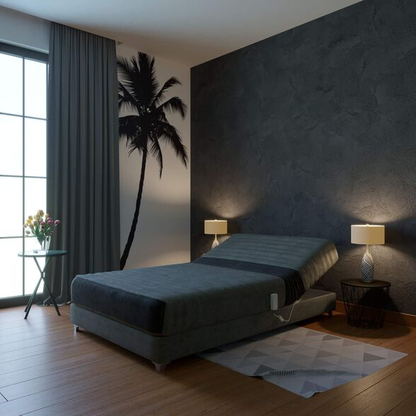 מיטת נוער חשמלית אורטופדית ברוחב וחצי RAM DESIGN דגם לאטינה עם ראש מתכוונן כולל ארגז מצעים, , large image number null