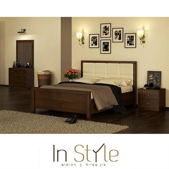 חדר שינה זוגי קומפלט כולל מיטה זוגית 140X190 שתי שידות לילה וקומודה עם מראה במבחר גוונים דגם יהלום, , large image number null