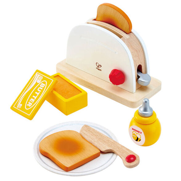 סט טוסטר מעץ עם פרוסות, חמאה ודבש 7 חלקים, , large image number null