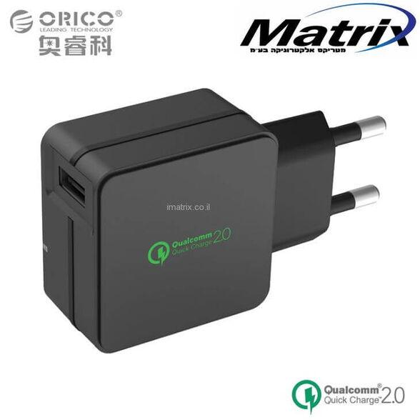 מטען קיר ORICO תומך QUALCOMM QUICK CHARGE 2.0 – מתאים לכל סוגי הסמארטפונים, , large image number null