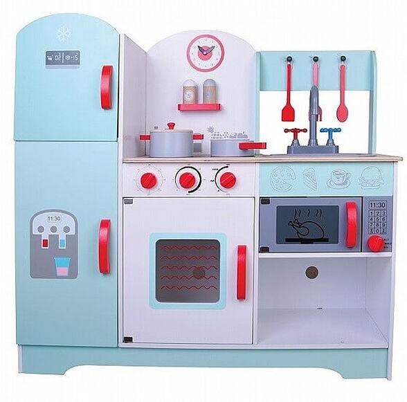 מטבח עץ קלאסי לילדים - מטבח גדול עם 8 פריטי איבזור למשחק חוויתי   צבע תכלת   מבית פיט טויס דגם 3890, , large image number null