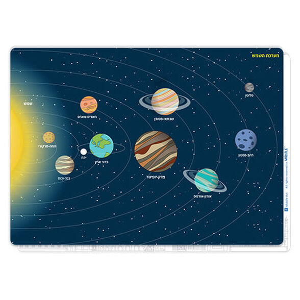 פלייסמט מערכת השמש   כולל את שמות כוכבי הלכת והסידור שלהם בחלל, , large image number null