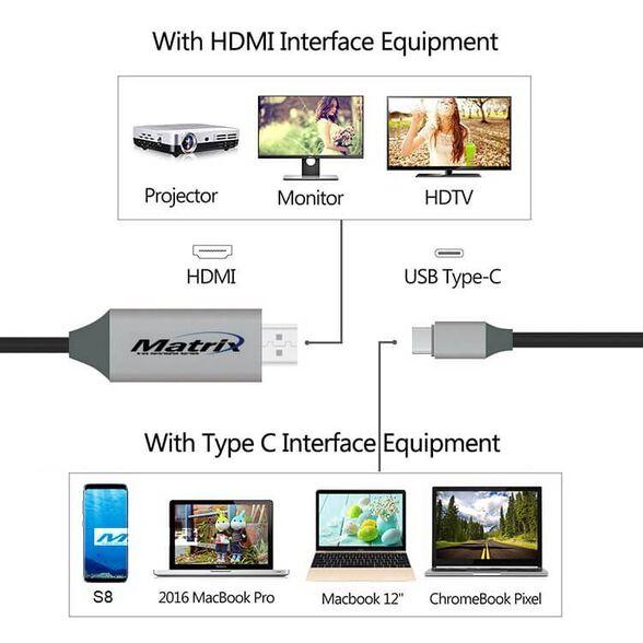 כבל מתאם מ TYPE C ל HDMI לסמסונג S8 - לחיבור ישיר לטלוויזיה, מסך או מקרן, , large image number null