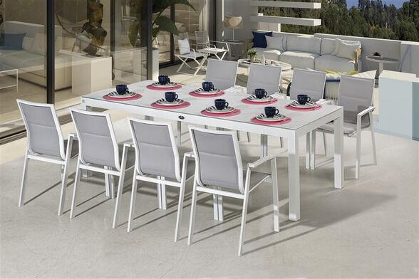 """שולחן ענק אורלנדו 240/100 ס""""מ זכוכית מפוארת לבנה מחוסמת + 8 כסאות אלומיניום יוקרתיים תוצרת AUSTRALIA GARDEN, , large image number null"""