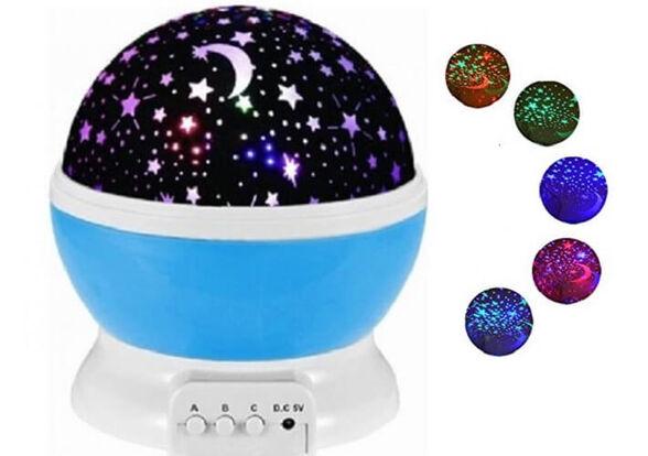 מנורת לילה מקרינה כוכבים וירח באפקטים שונים כולל אופציה להקרנה על הקיר או הקרנה באמצעות סיבוב של 360, , large image number null