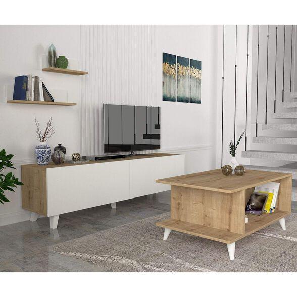 סט שולחן + מזנון טלוויזיה 1.8 מטר + סט מדפי תליה לקיר דגם מישיגן מבית GEVA DESIGN, , large image number null