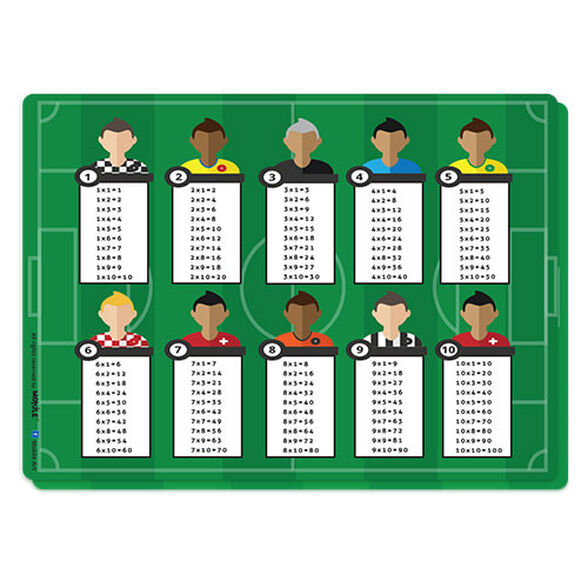 פלייסמט עיצוב כדורגל | לוח הכפל בפלייסמט מראה בצורה גרפית את תוצאת כל פעולות הכפל של המספרים 1 עד 10, , large image number null