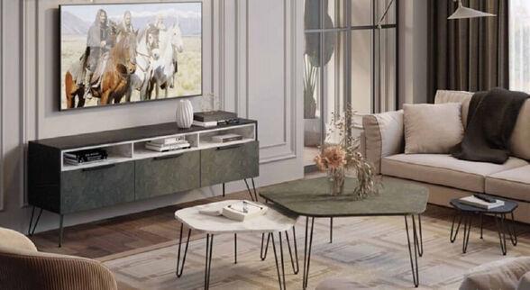 מזנון וסט 3 שולחנות לסלון מבית House Design ייצור ישראלי כחול לבן דגם מונקו, , large image number null