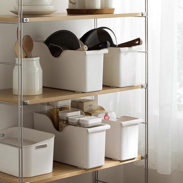 קופסת מזווה אחסון למחבתות, מכסים ומגוון שימושים הנכנסת לארון המטבח לארגון מושלם,מבית MiniMaxx, , large image number null