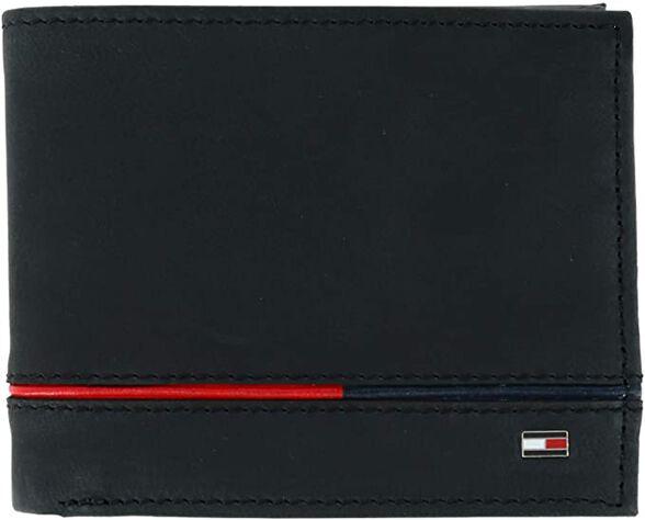 ארנק טומי הילפיגר עור קשיח ואיכותי, לוגו עם של המותג TOMMY HILFIGER ופס לכל ארוך הארנק עם צבעי המותג, , large image number null