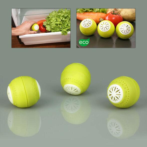 סט 3 כדורי סופחי לחות וריח למקרר   לשמירת טריות הפירות והירקות לאורך זמן, , large image number null