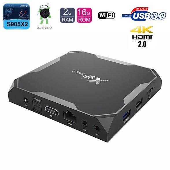 סטרימר מתאם לטלויזיה חכמה - X96 MAX עם 4GB+64GB תומך60fps 4K, מעבד חדש 4 ליבות  S905X3 64bit אנדרואיד9, , large image number null