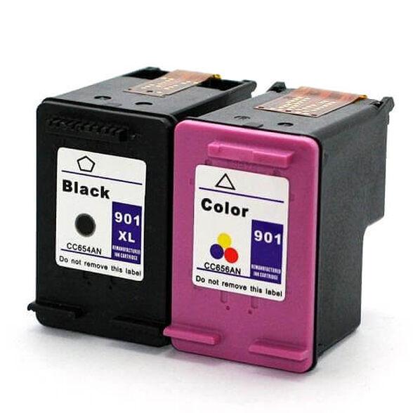 זוג ראשי דיו תואם HP 901XL סט שחור וצבעוני , , large image number null