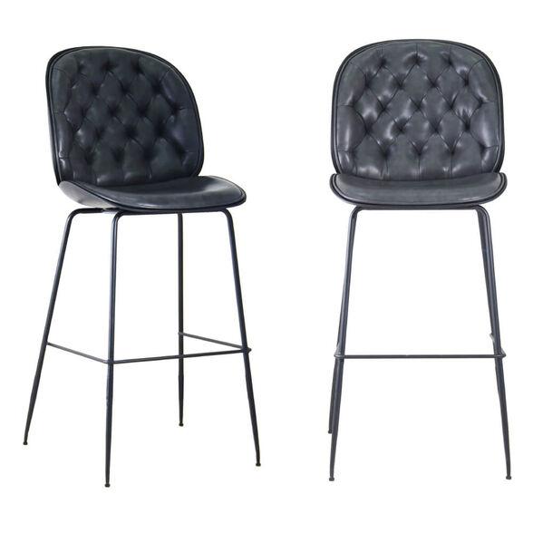 זוג כסאות בר מפוארים מרופדים בד רחיץ עם רגלי ברזל HOME DECOR דגם ויקטורי – משלוח חינם! , , large image number null