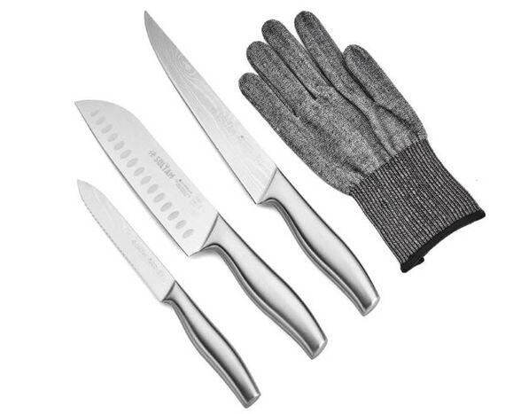 מארז 3 סכינים ידית נירוסטה עם כפפת הגנה   סולתם, , large image number null