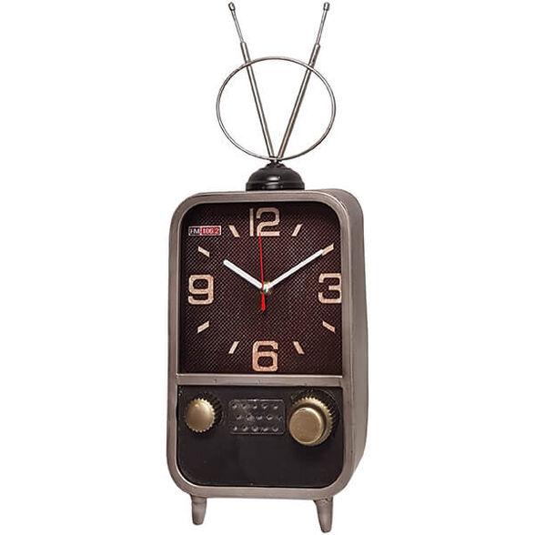 שעון שולחני בעיצוב רטרו בצורת טלוויזיה עם אנטנות, , large image number null