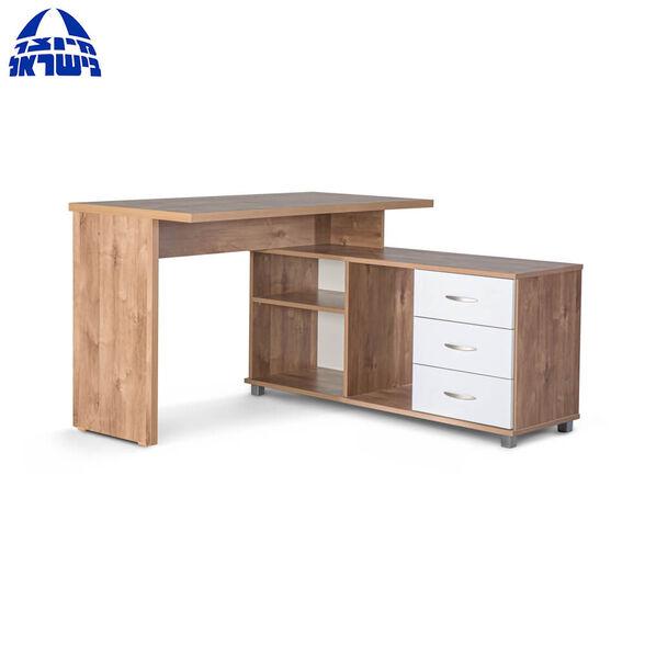 שולחן מחשב פינתי בעל 3 מגירות בעיצוב מודרני המשלב צבע שיטה ולבן דגם מאי מבית רהיטי יראון תוצרת ישראל, , large image number null