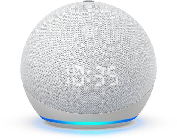 הרמקול החכם והחדש של אמזון -  Echo dot 4 clock  כולל שעון מואר ועוזרת קולית Alexa Amaz _לבן, , large image number null