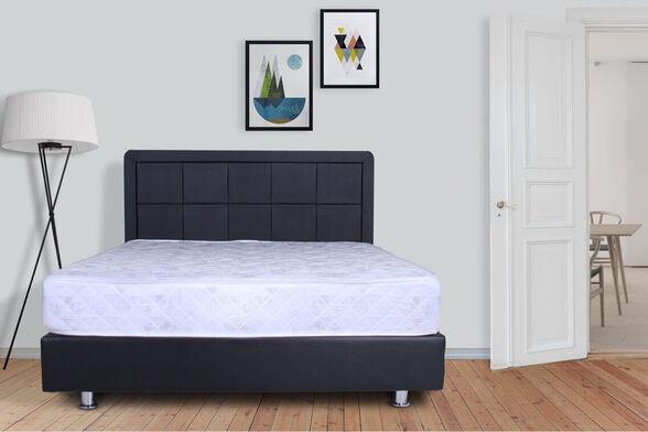 מיטה זוגית מעוצבת מרופדת בדמוי עור דגם 6012 + מזרן מתנה + ארגז מצעים עץ מלא , , large image number null