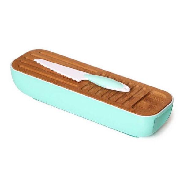 קופסת אחסון והגשה לעוגות/לחמים/גבינות עם קרש חיתוך וסכין - צבע לבחירה, , large image number null