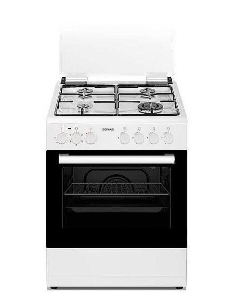 """תנור משולב כיריים גז 60 ס""""מ לבן בנפח 60 ליטר 4 מבערים - 5 תוכניות בישול ואפיה מבית SONAB דגם SN-6006 WH , , large image number null"""