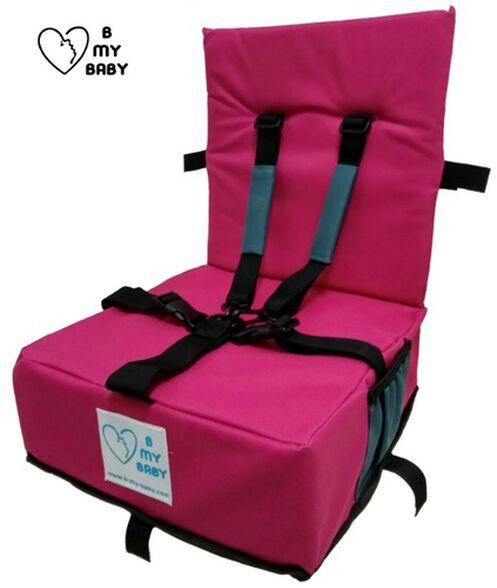כיסא הגבהה מתקפל ונח עם רצועות פנימיות וקשירה לכיסא מטבח/פינת אוכל - ורוד, , large image number null