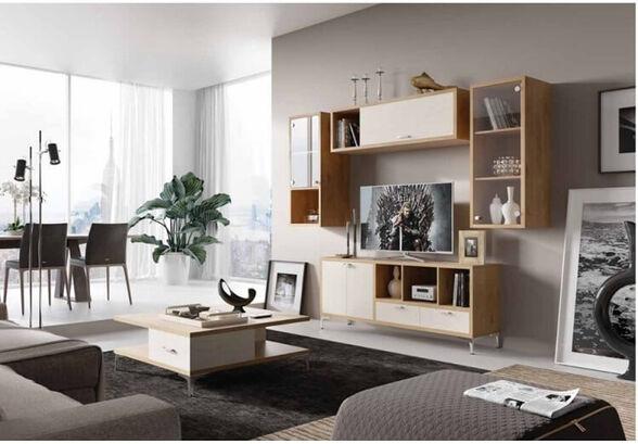 מזנון ושולחן לסלון מבית House Design ייצור ישראלי כחול לבן דגם ליברפול, , large image number null