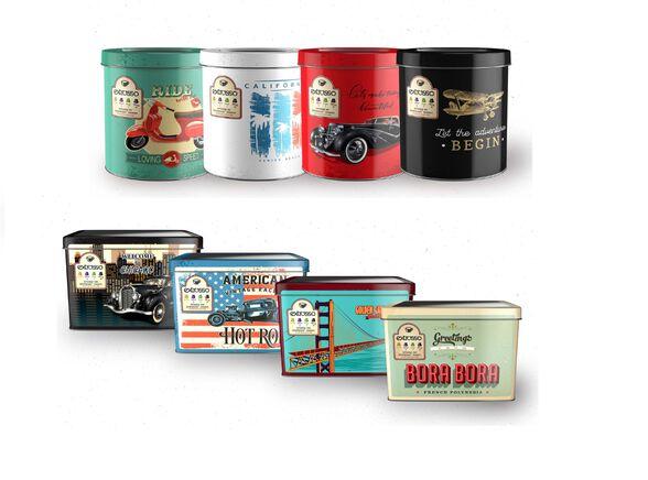מארז 4 קופסאות אחסון למטבח ולבית, בעיצובי וינטג' עשויות פח כוללות מכסה שקוף., , large image number null