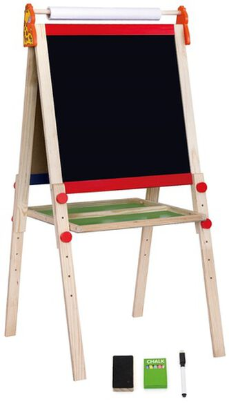 לוח ציור דו צדדי גיר / טוש מחיק / נייר + אביזרים מעץ מלא, , large image number null
