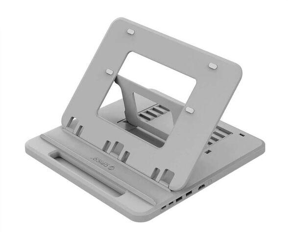 מעמד מתכוונן למחשב נייד כולל תחנת עגינה עם HDMI, USB וטעינה - ORICO - צבע אפור , , large image number null