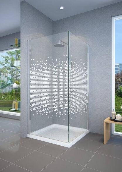 מקלחון פינתי קוביות עשוי זכוכית מחוסמת עם 2 דלתות נפתחות פנימה והחוצה, , large image number null