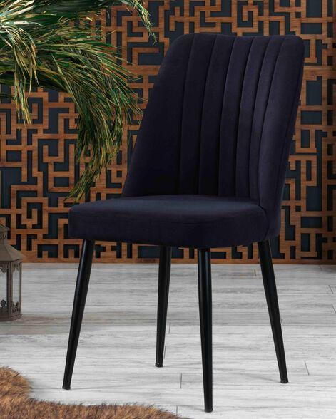 6 כסאות לפינת אוכל דגם אור הכולל רגלי מתכת שחורה בד קטיפתי נעים וקל לניקוי כרית מושב עבה ונוחה LEONARDO  - צבעים לבחירה_שחור, , large image number null