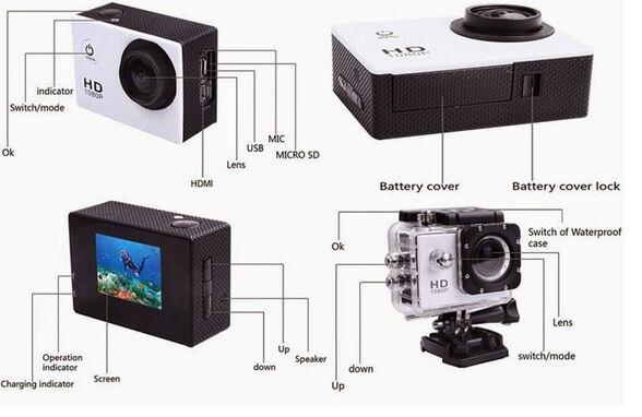 מצלמת אקסטרים  מצלמת וידאו full hd איכותית עם צג LCD אחורי וטכנולוגיית HQ לצילומי ספורט ואקסטרים.כולל תפריט מלא בשפה העברית , , large image number null