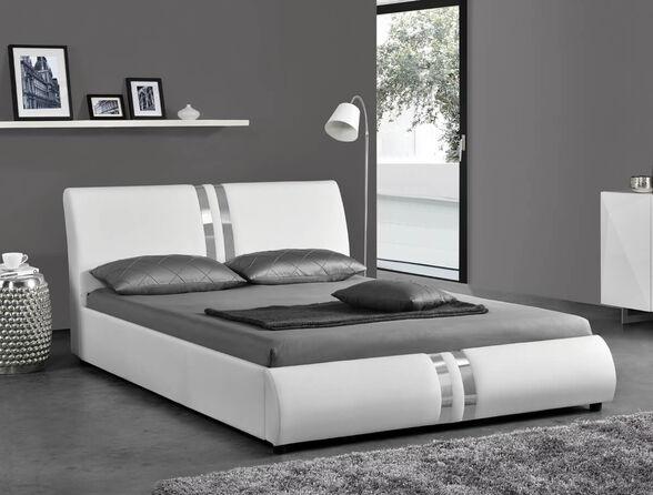 מיטה זוגית מעוצבת בריפוד דמוי עור HOME DECOR עם בסיס עץ מלא בעיצוב מודרני   דגם גלי , , large image number null