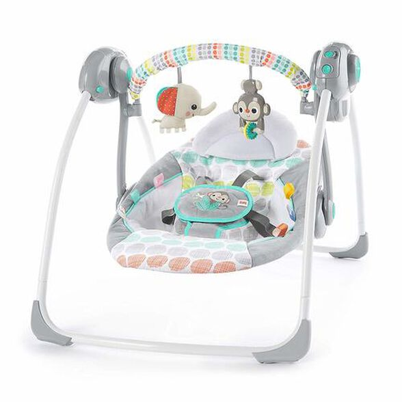 נדנדה חשמלית מתקפלת לתינוק עם חיישן משקל ומצבי שכיבה - חיות מוזיקאליות, , large image number null