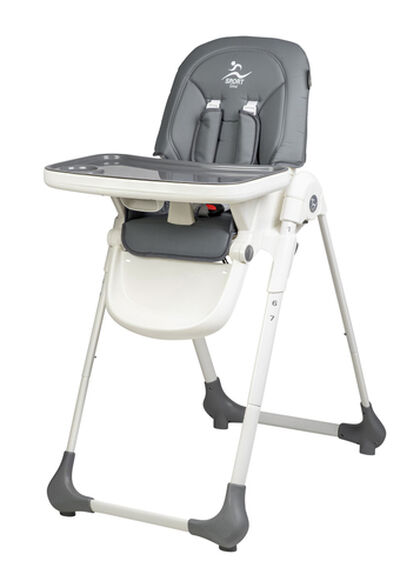 כסא אוכל קומודו Comodo עם 7 מצבי גובה, שלושה מצבי שכיבה ורופוד דמוי עור - אפור, , large image number null