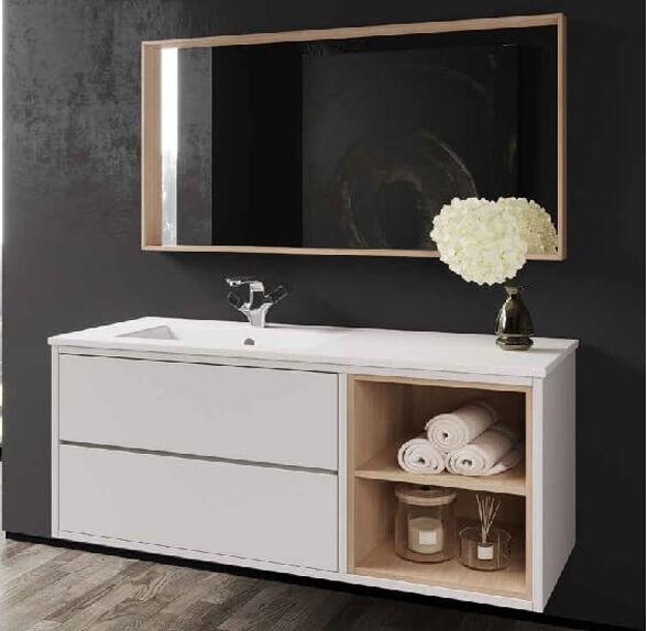 סט ארון אמבטיה תלוי בשילוב פורניר אלון- דגם מעיין \ מגוון מידות וצבעים לבחירה., , large image number null