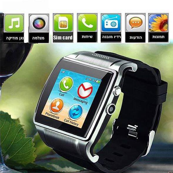 שעון יד משולב טלפון חכם עצמאי עם כרטיס SIM, חיבור Bluetooth, מצלמה מובנית ותמיכה במגוון שפות כולל עברית , , large image number null