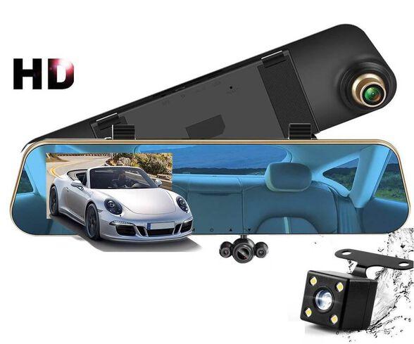 מצלמת דרך מובנית במראת רכב עם צג ענק 4 אינץ ו- 3 עדשות לכיסוי מלא דגם 2020 !! עובד גם כשהרכב לא בתנועה , , large image number null