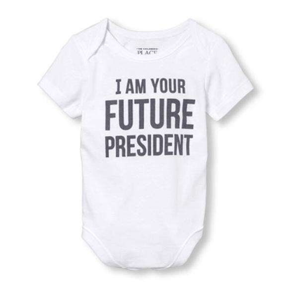 """בגד גוף שרוול קצר - """" I am your future president"""" מבית The Children's Place במגוון מידות לבחירה, , large image number null"""