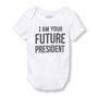 """בגד גוף שרוול קצר - """" I am your future president"""" מבית The Children's Place במגוון מידות לבחירה"""