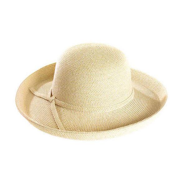 כובע אופנתי רחב שוליים Kauai הנארז בקלות ומגיע עם סרט קישוט תואם מבית SUNDAY AFTERNOONS_צבע שמנת, , large image number null