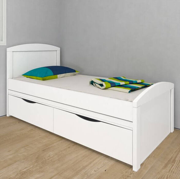 מיטה מעוצבת מדגם אגם הכוללת מיטה תחתונה נשלפת עם זוג מגירות לאחסון    צבע לבן, , large image number null