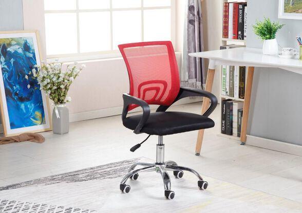 כסא משרד/סטודנט אורוגונומי עם גב רשת MESH בגימור ניקל מגיע במגוון צבעים דגם P22670 מבית COBRA_אדום, , large image number null