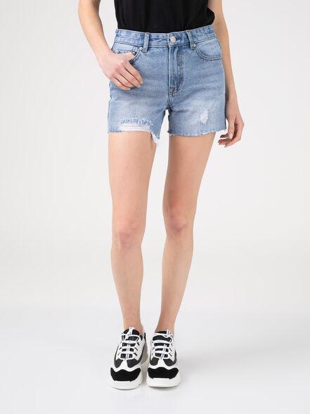 שורט ג'ינס עם סיומת גזורה, , large image number null