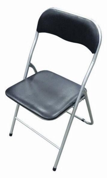 כיסא מתקפל עשוי מתכת מצופה בצבע בתנור   ריפוד דמוי עור בצבע שחור   עד 6 יח' בעלות משלוח אחת, , large image number null
