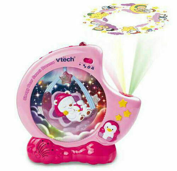 מקרן לתינוק משולב מנורת לילה עם שלט לילה דוב - ורוד, , large image number null