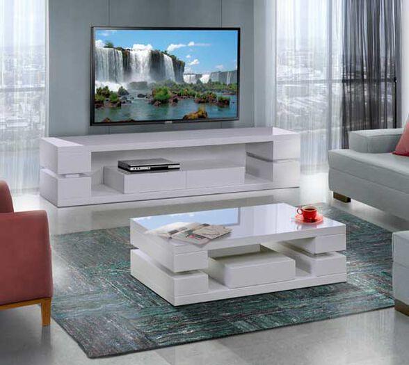 מערכת מזנון ושולחן לסלון בצבע לבן בגימור אפוקסי המעוצבים בעיצוב מודרני דגם לביא לשידרוג הסלון LEONARDO, , large image number null