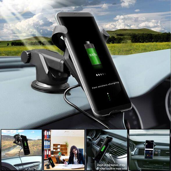 מעמד לרכב משולב עם משטח טעינה אלחוטי Qi מהיר  - טלסקופי - FAST CHARGE - מתאים לאייפון 8, אייפון X וסמסונג S8, S7, S6, , large image number null